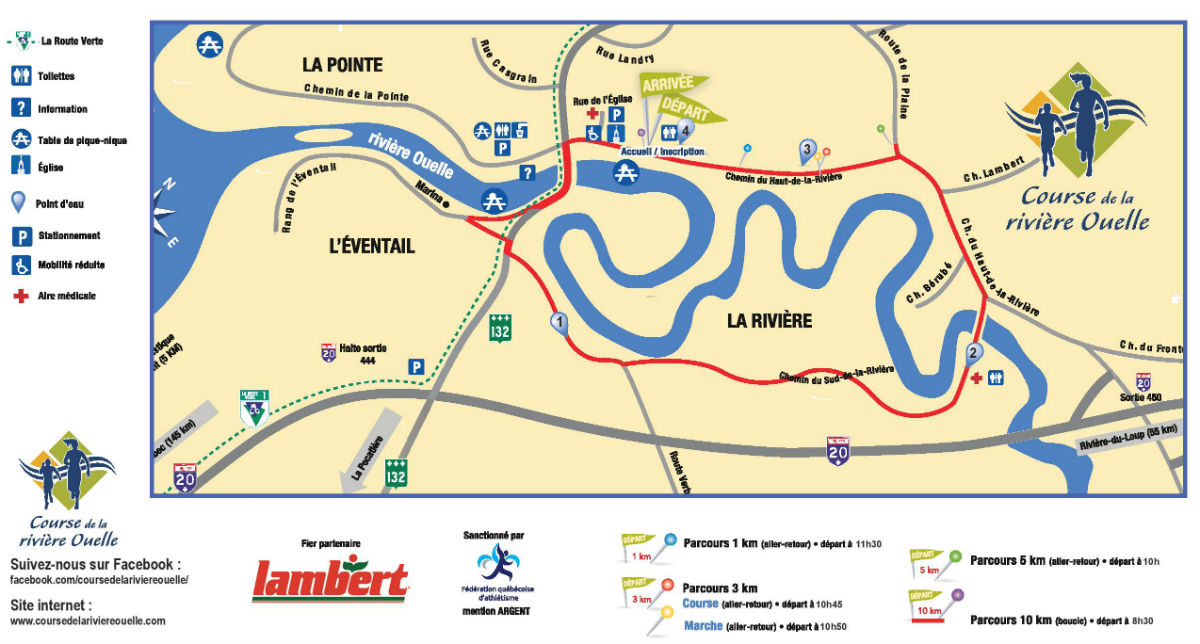 Parcours Officiel 2018 course de la rivière Ouelle